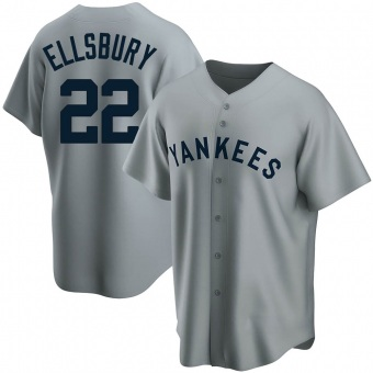 Men's Jacoby Ellsbury New York Gray Replica Road Cooperstown Collection Baseball Jersey (Unsigned No Brands/Logos)