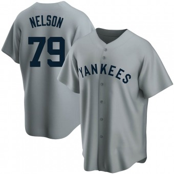 Men's Nick Nelson New York Gray Replica Road Cooperstown Collection Baseball Jersey (Unsigned No Brands/Logos)
