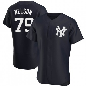 Men's Nick Nelson New York Navy Authentic Alternate Baseball Jersey (Unsigned No Brands/Logos)