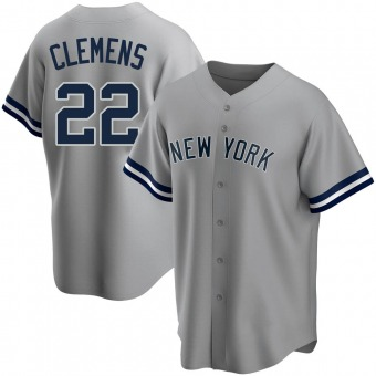 Men's Roger Clemens New York Gray Replica Road Name Baseball Jersey (Unsigned No Brands/Logos)