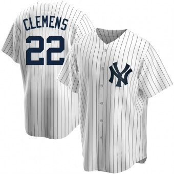Men's Roger Clemens New York White Replica Home Baseball Jersey (Unsigned No Brands/Logos)