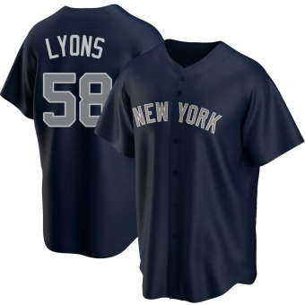 Men's Tyler Lyons New York Navy Replica Alternate Baseball Jersey (Unsigned No Brands/Logos)