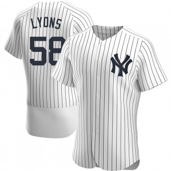 Men's Tyler Lyons New York White Authentic Home Baseball Jersey (Unsigned No Brands/Logos)