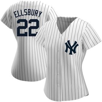 Women's Jacoby Ellsbury New York White Replica Home Name Baseball Jersey (Unsigned No Brands/Logos)