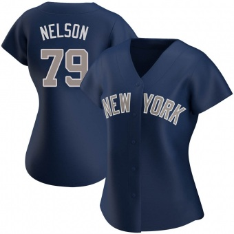 Women's Nick Nelson New York Navy Authentic Alternate Baseball Jersey (Unsigned No Brands/Logos)