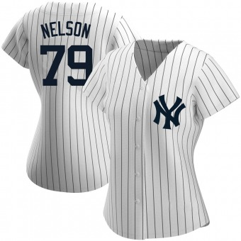 Women's Nick Nelson New York White Authentic Home Name Baseball Jersey (Unsigned No Brands/Logos)