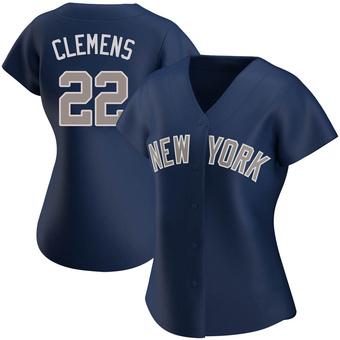 Women's Roger Clemens New York Navy Authentic Alternate Baseball Jersey (Unsigned No Brands/Logos)