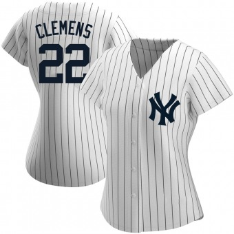 Women's Roger Clemens New York White Replica Home Name Baseball Jersey (Unsigned No Brands/Logos)