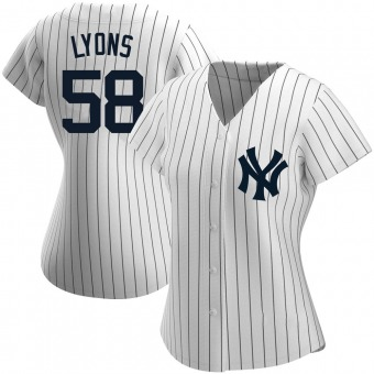 Women's Tyler Lyons New York White Authentic Home Name Baseball Jersey (Unsigned No Brands/Logos)