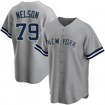 Youth Nick Nelson New York Gray Replica Road Name Baseball Jersey (Unsigned No Brands/Logos)