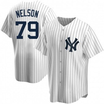 Youth Nick Nelson New York White Replica Home Baseball Jersey (Unsigned No Brands/Logos)