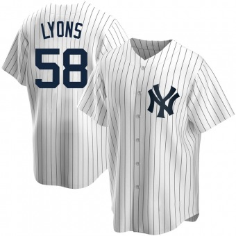 Youth Tyler Lyons New York White Replica Home Baseball Jersey (Unsigned No Brands/Logos)